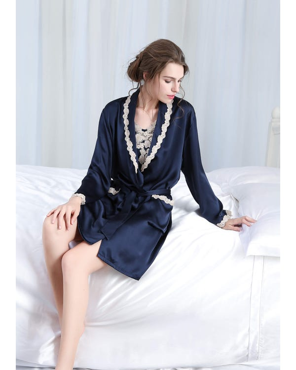 22 Momme Silk Nightgown & Robe Set With Delicate Lace Navy Blue 1X