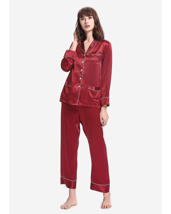 22 Momme Chic Trimmed Silk Pajamas Set Claret XXL