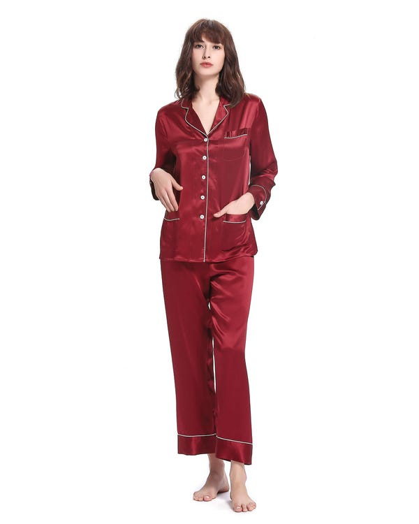 22 Momme Chic Trimmed Silk Pajamas Set Claret XXL-hover