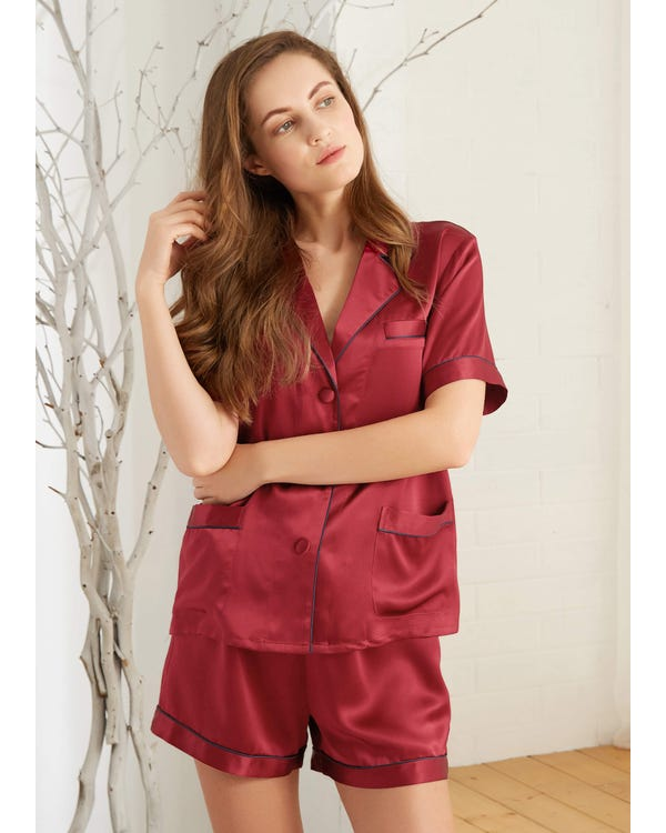 22 Momme Summer Women Silk Pajamas Set Claret 1X