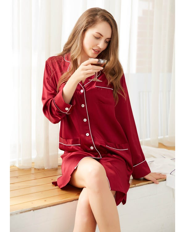 22 Momme Luxurious White Piping Silk Nightshirt Claret 1X