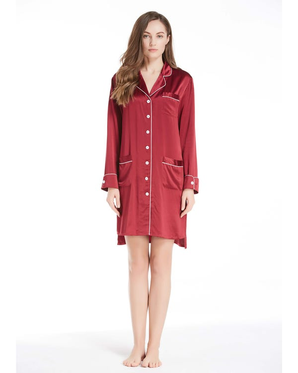 22 Momme Luxurious White Piping Silk Nightshirt Claret 1X-hover