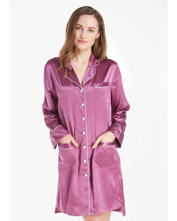 22 Momme Lussuosa Camicia da Notte in Seta con Bianco Filetto