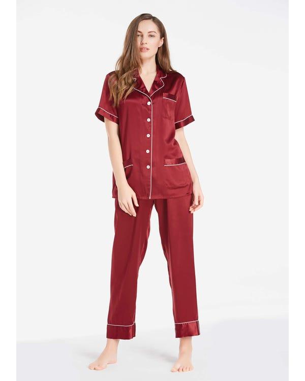 22 Momme Pijamas Seda Mujer Mangas Cortas Chic Rojo Vino 2X