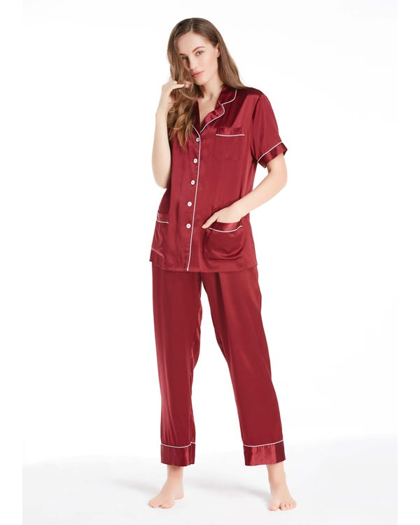 22 Momme Chic Trimmed Short Sleeve Silk Pajamas Set Claret 1X-hover