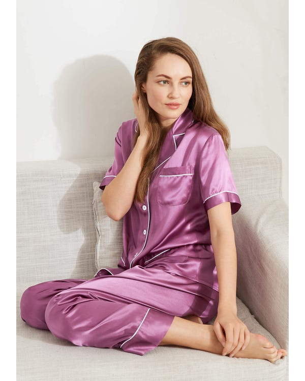 22 Momme Chic Trimmed Short Sleeve Silk Pajamas Set
