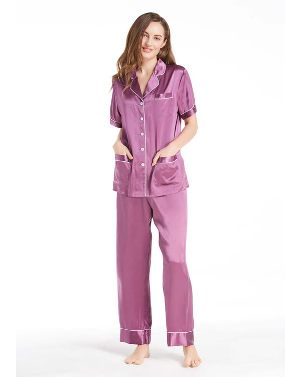 22 Momme Chic Trimmed Short Sleeve Silk Pajamas Set-hover