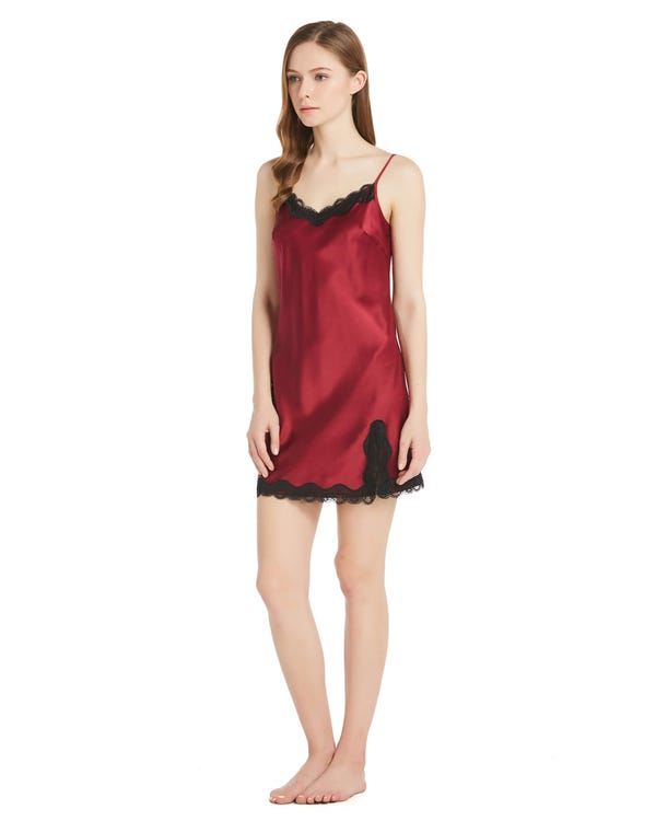 22 Momme Sexy Silk Nightgown with Lace Claret 1X-hover