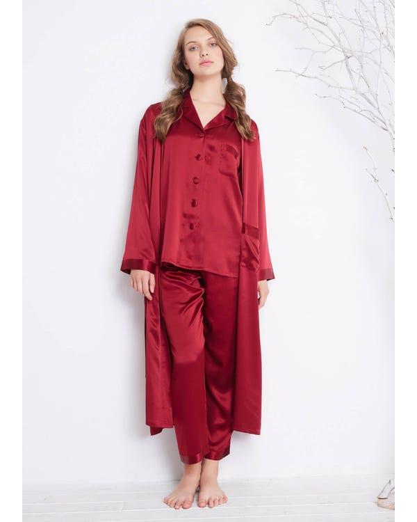 22 Momme Classic Full Length Silk Pajamas & Robe Set Claret XXL