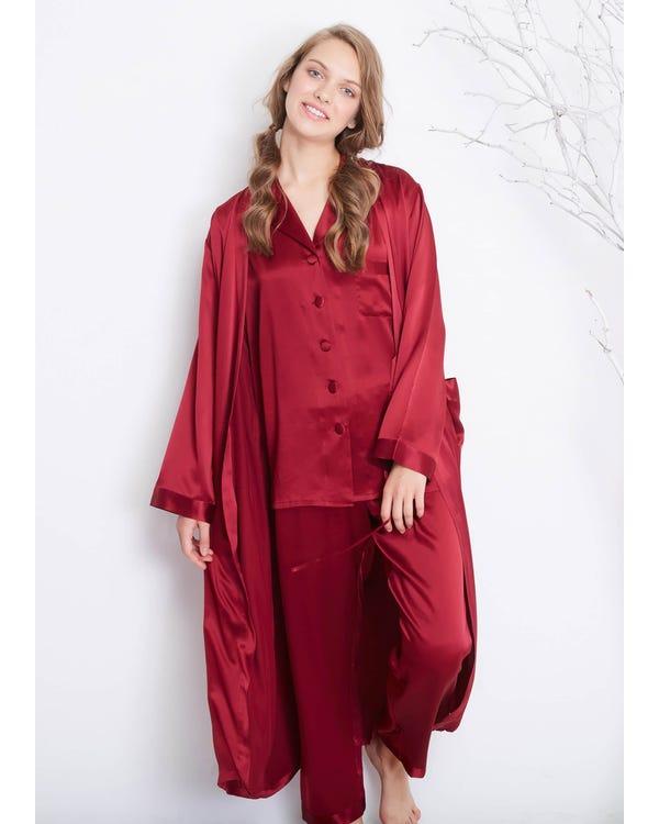 22 Momme Classic Full Length Silk Pajamas & Robe Set Claret XXL-hover