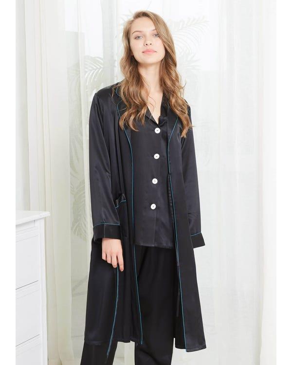 22 Momme Collar Silk Pajamas & Robe Set with Contrast Trim Black XXL