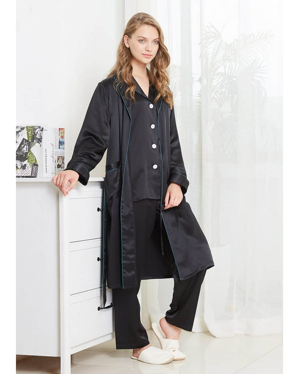22 Momme Collar Silk Pajamas & Robe Set with Contrast Trim Black XXL-hover