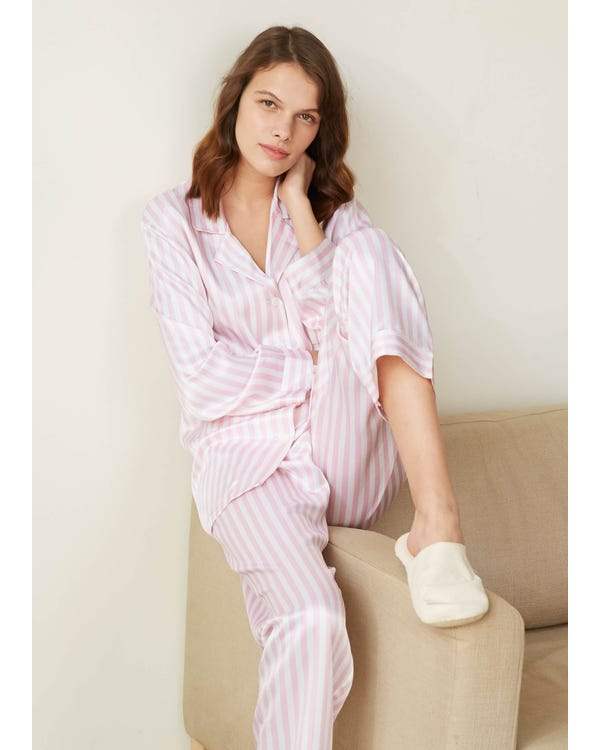 22 Momme Women Soft Pajamas With Pink And White Stripe Pink And White Stripes XXL
