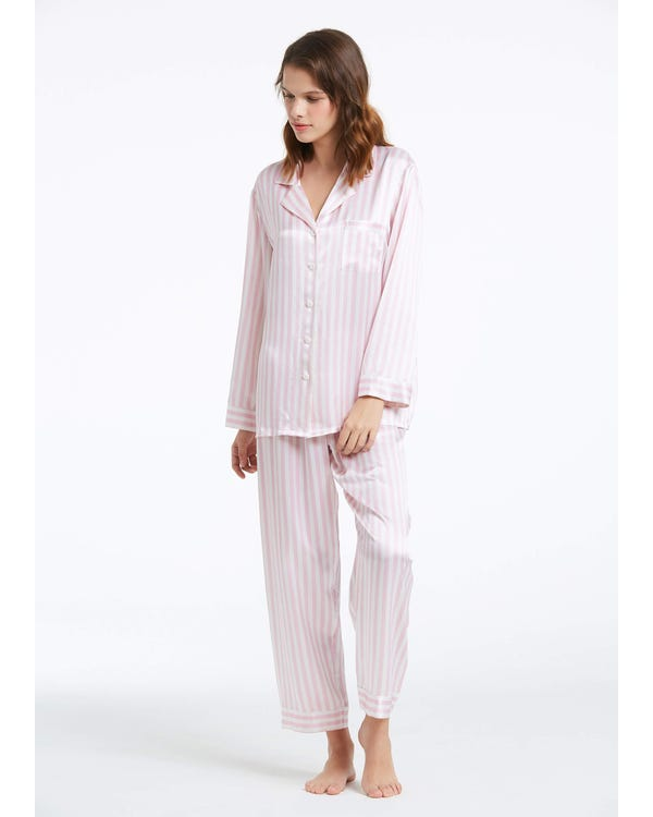 22 Momme Women Soft Pajamas With Pink And White Stripe Pink And White Stripes XXL-hover