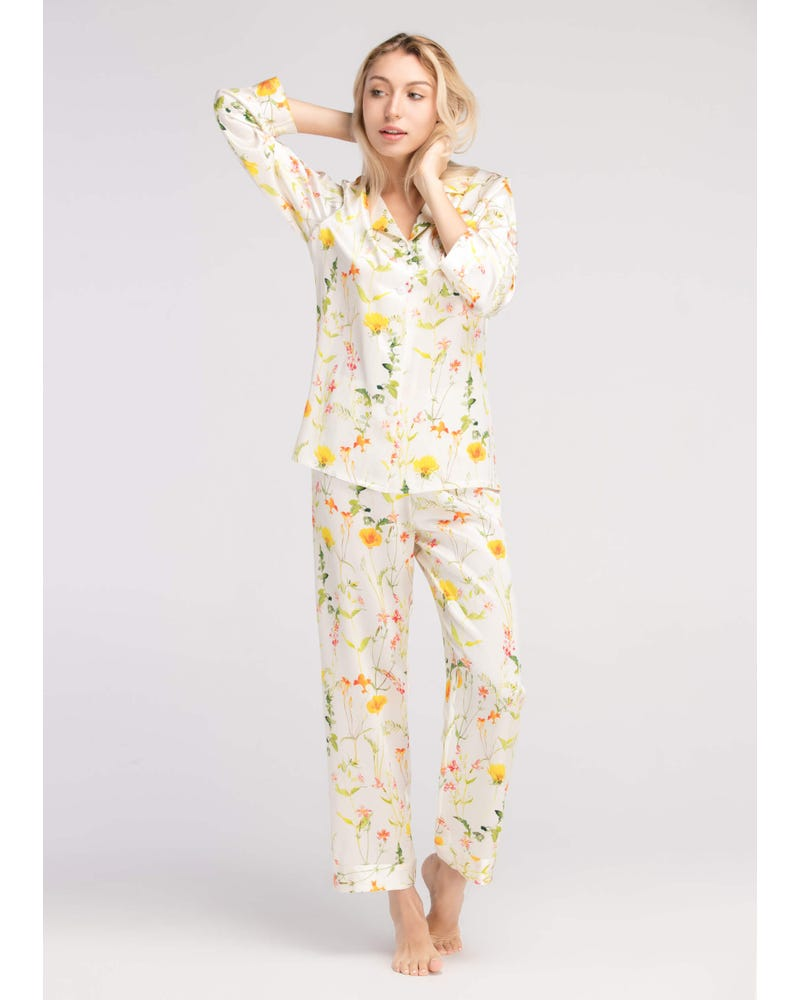22 Momme Blossom Long Silk Pyjamas Set