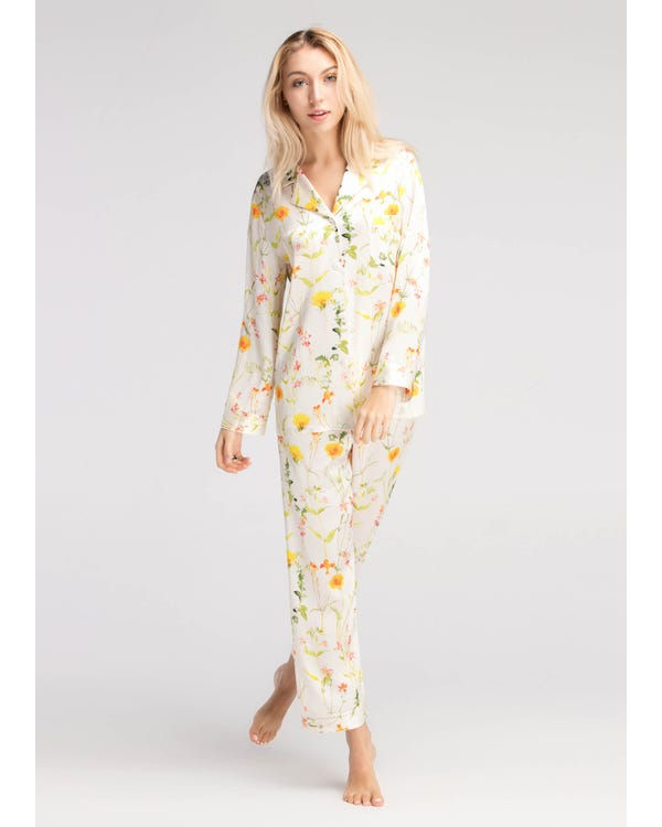 【22匁】シルク パジャマ【爽やかな花柄 ロング丈】-hover