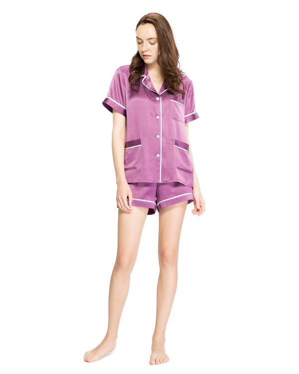 22 Momme V Neck Summer Women Silk Pajamas Set-hover