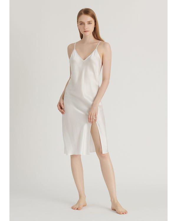 16 Momme Elegant Silk Slit Nightgown