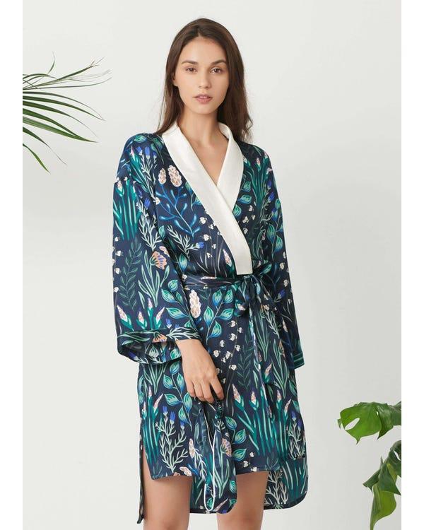 Womens Floral Printed Kimono Silk Robe White-Flower-with-Blue XXL