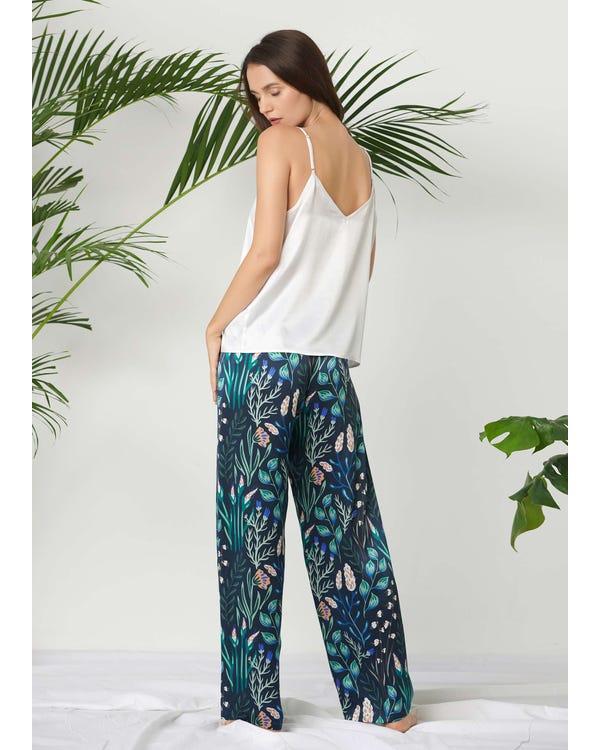 Floral Long Silk Camisole Set