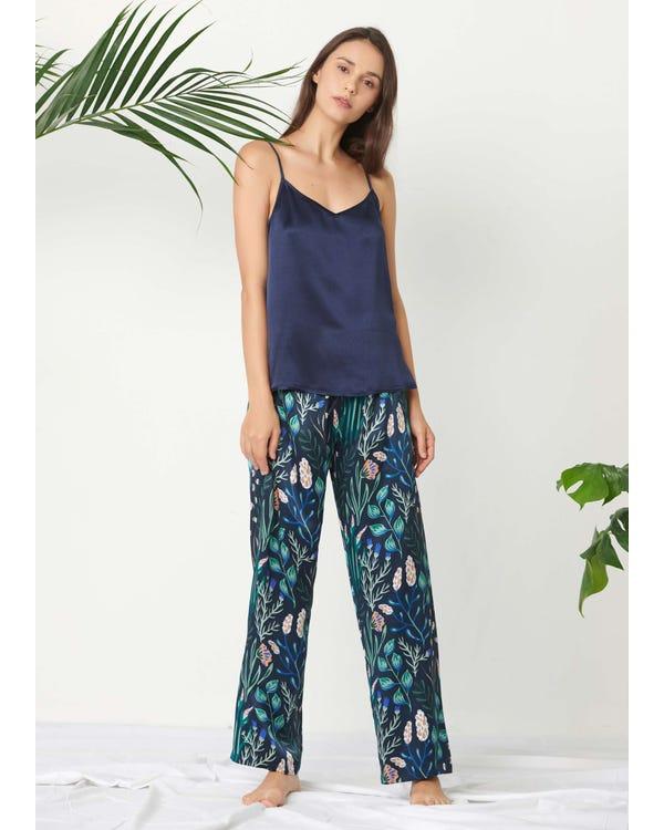Floral Long Silk Camisole Set Navy-Blue-White-Flower-Prints XL
