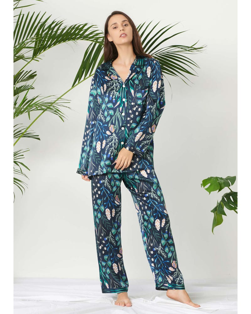 Plant Print Long Silk Pyjamas Set For Women