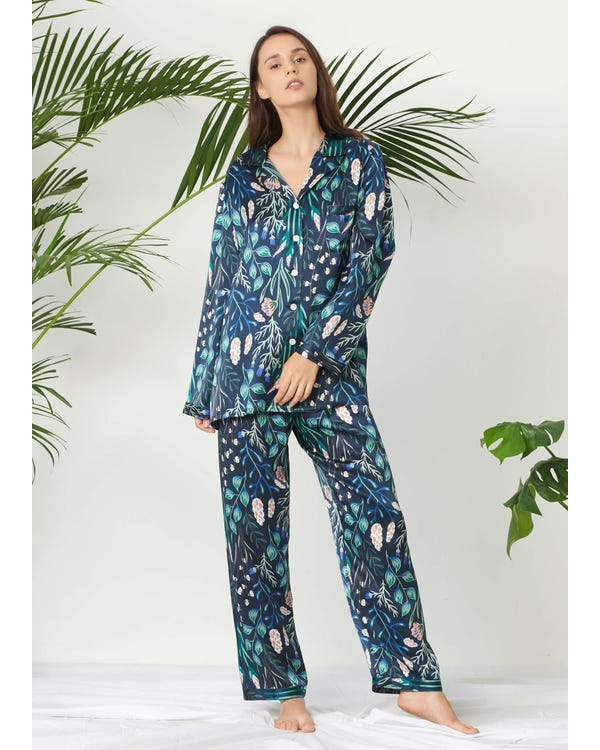 Plant Print Long Silk Pajamas Set for Women