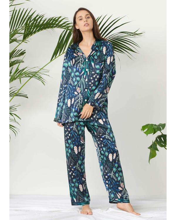 Plant Print Long Silk Pajamas Set for Women White-Flower-with-Blue XXL