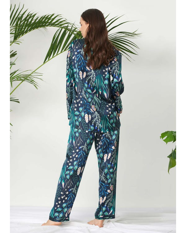 Plant Print Long Silk Pajamas Set for Women White-Flower-with-Blue XXL-hover