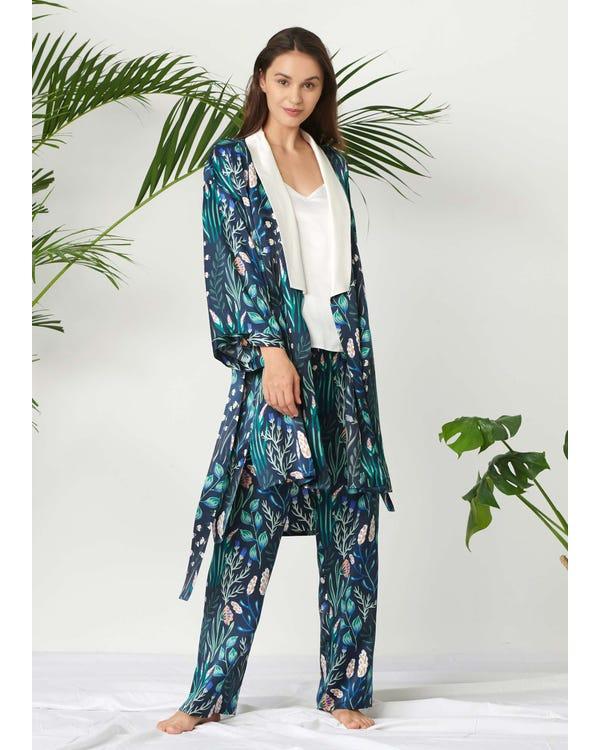 Womens Floral Printed Silk Pajamas Set 3PCS White-Flower-with-Blue XXL