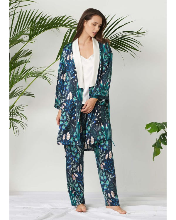 Womens Floral Printed Silk Pajamas Set 3PCS White-Flower-with-Blue XXL-hover