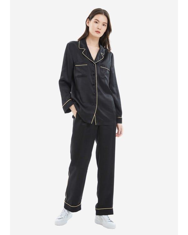 22MM Gold Piping Silk Pajamas Set Black XL