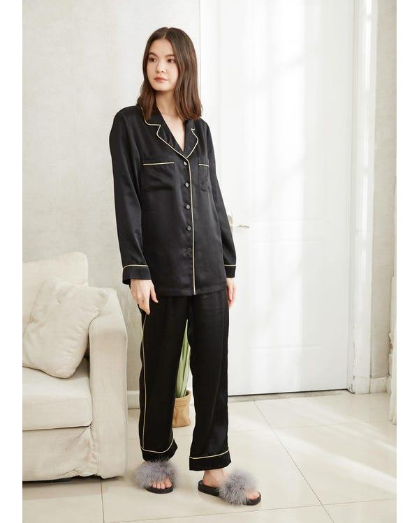 22MM Gold Piping Silk Pajamas Set Black XL-hover