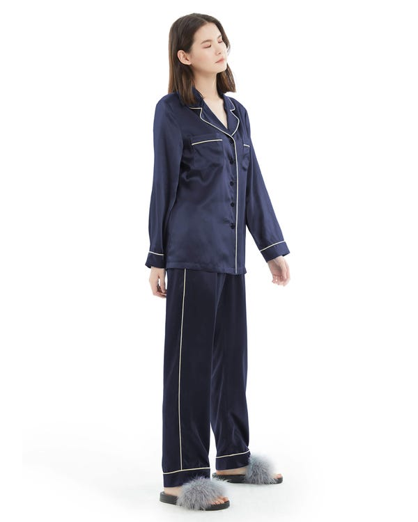 22MM Gold Piping Silk Pajamas Set-hover