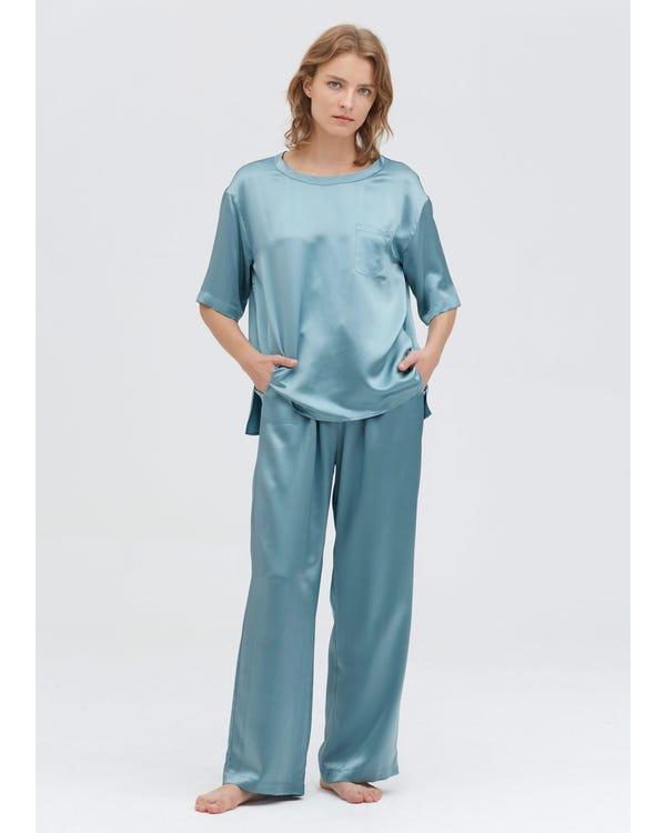 22 Momme Pijamas de Seda con Cuello Redondo Blue-Haze XS