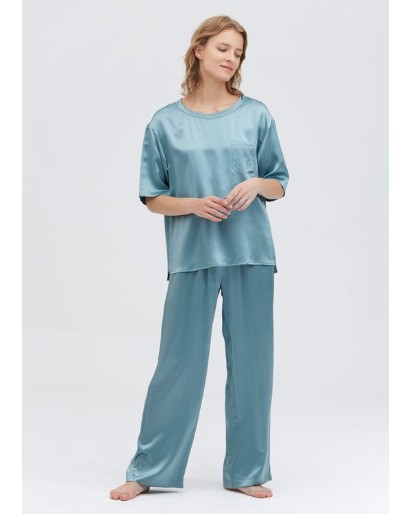 22 Momme Pijamas de Seda con Cuello Redondo Blue-Haze XS-hover