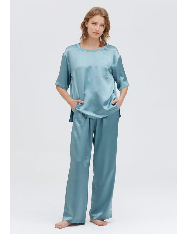 22 Momme Round Neck Silk Pajamas Set