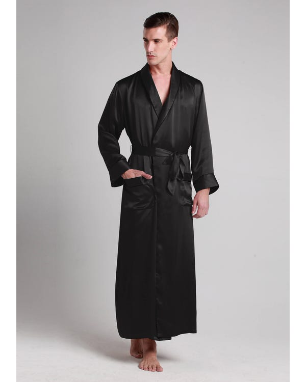 22 Momme Contra Full Length Silk Robe Black XXXL