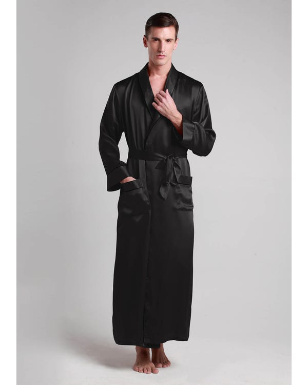 22 Momme Contra Full Length Silk Robe Black XXXL-hover