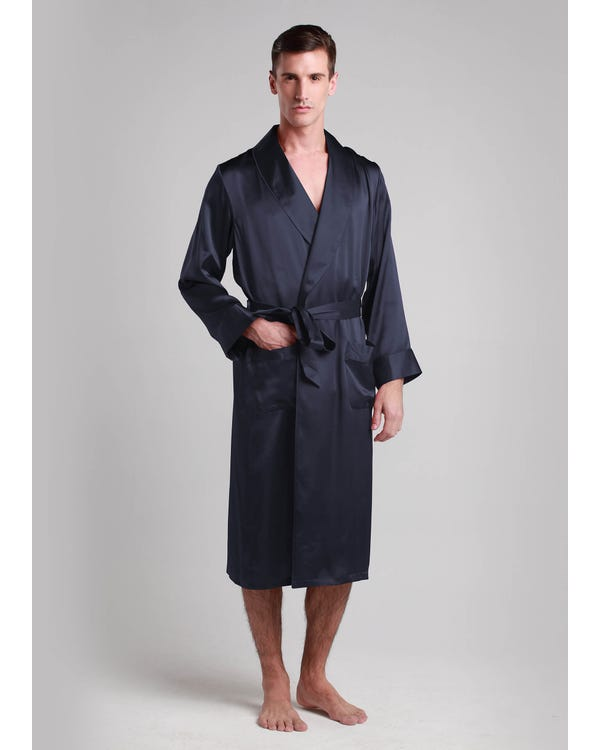 22 Momme Lapel Collar Long Silk Robe Navy Blue XXXL
