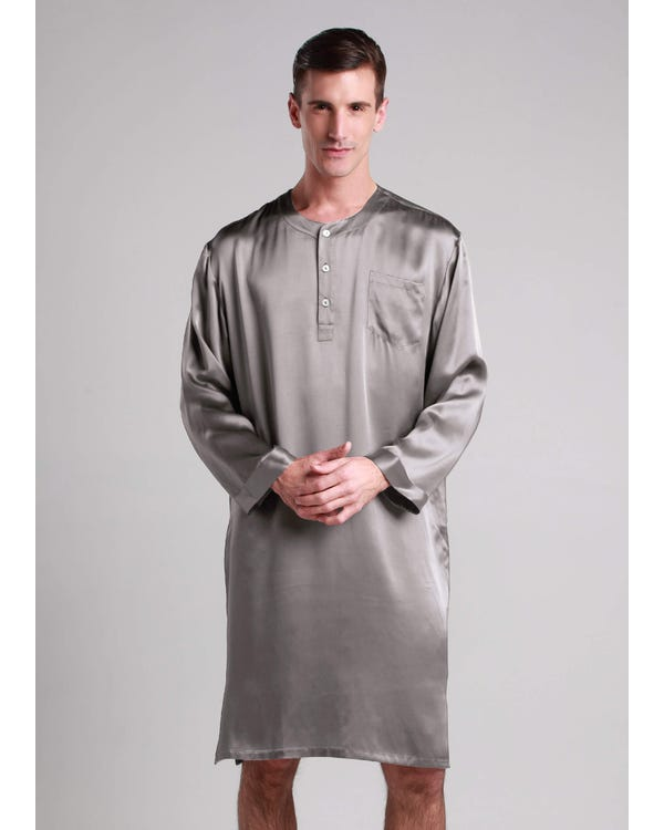 22 Momme Mens Silk Nightshirt Dark Gray XXXL