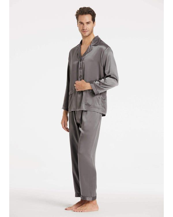22 Momme Long Silk Pajamas Set for Men Dark Gray XL-hover