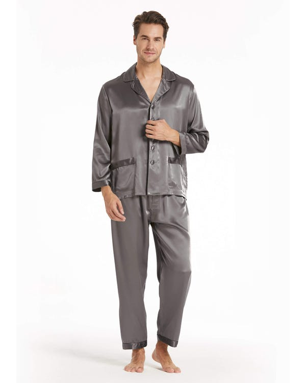 22 Momme Long Silk Pajamas Set for Men