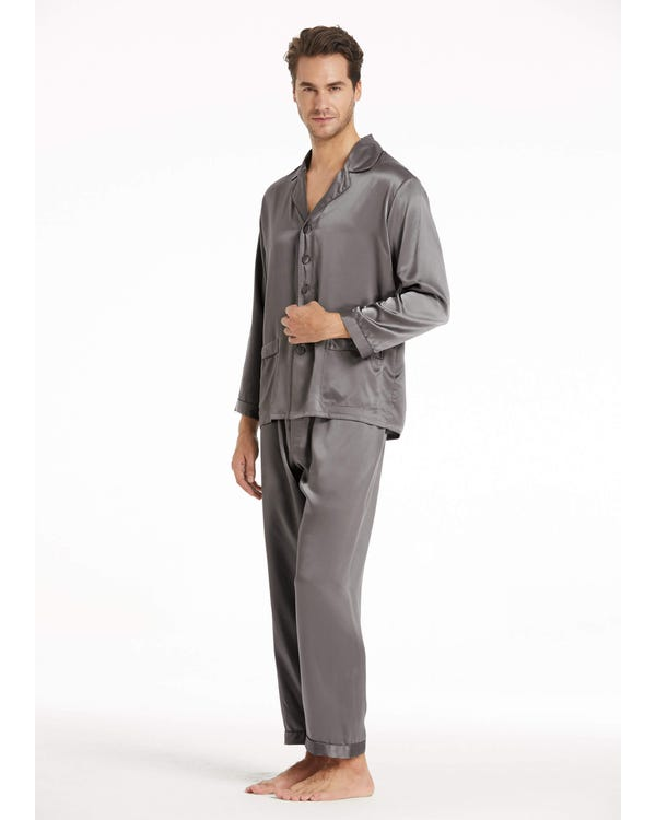 22 Momme Long Silk Pajamas Set for Men-hover