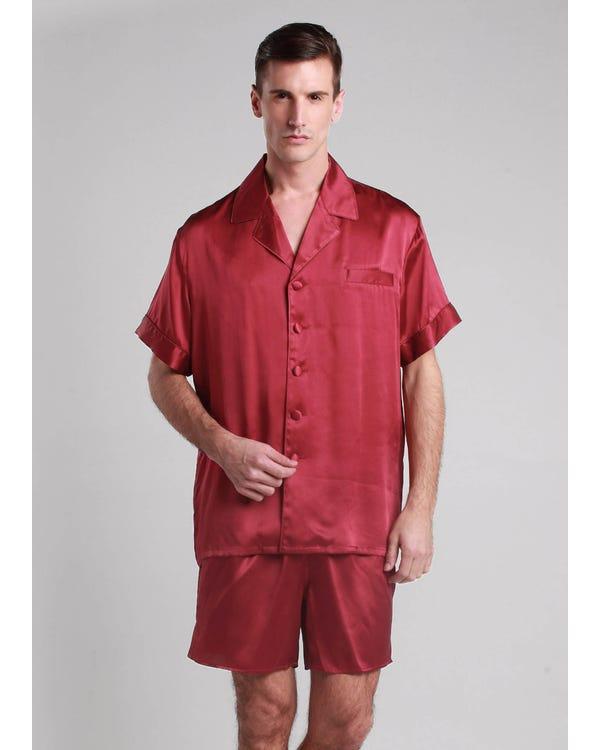 【22匁】メンズ夏用シルクパジャマ【くるみボタン】