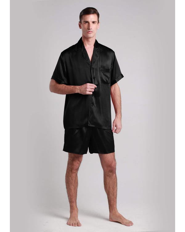 22 Momme Contrast Trim Short Silk Pajama Set Black XXXL-hover