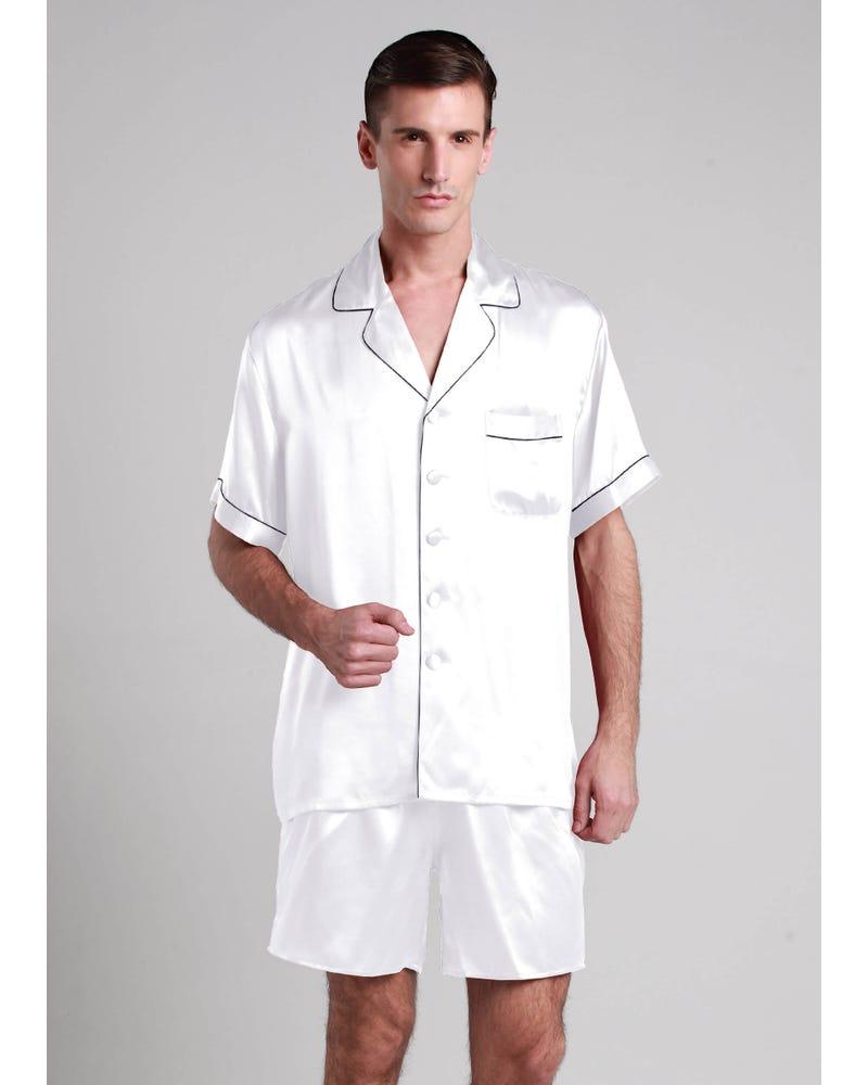 22 Momme Contrast Trim Short Silk Pajamas Set