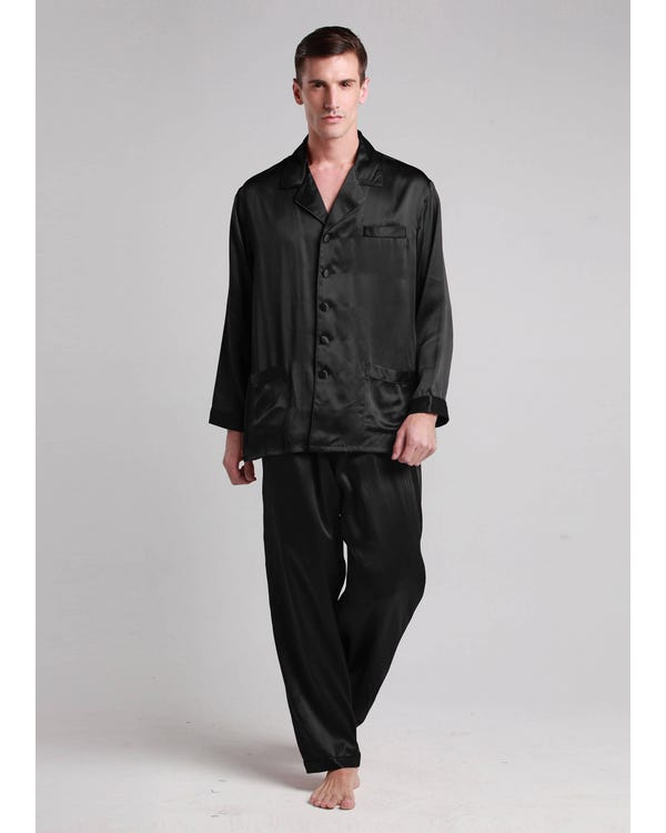 22 Momme Long Silk Pajamas Set with Contrast Trim-hover