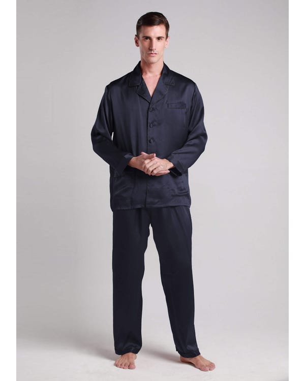 22 Momme Long Silk Pajamas Set with Contrast Trim Navy Blue S