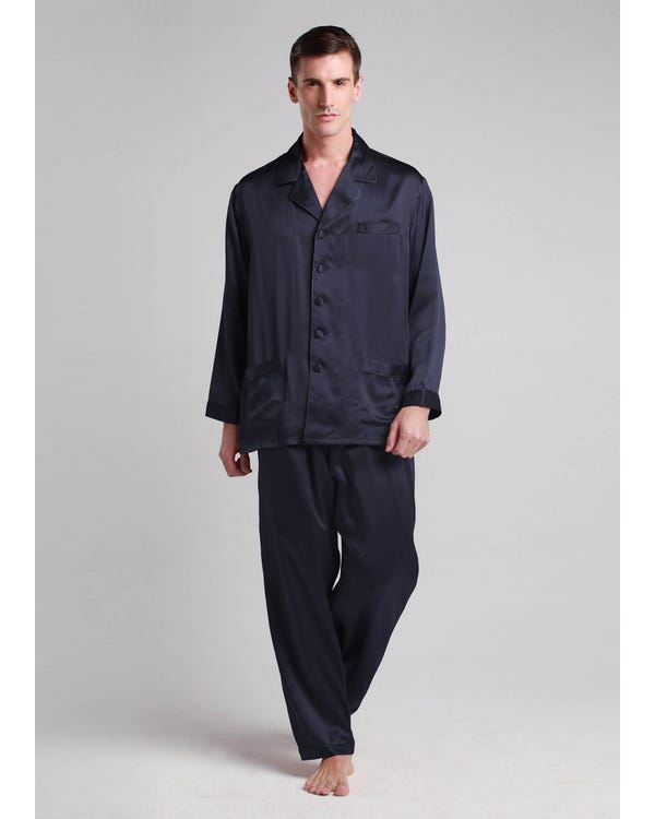 22 Momme Long Silk Pajamas Set with Contrast Trim Navy Blue XXXL-hover